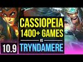 CASSIOPEIA Vs TRYNDAMERE (MID) | 1400+ Games, Triple Kill, KDA 16/3/9 | KR Diamond | V10.9