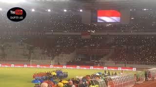 LAGU KEBANGSAAN INDONESIA RAYA GETARKAN THE NEW GBK STADIUM 14/1/2018