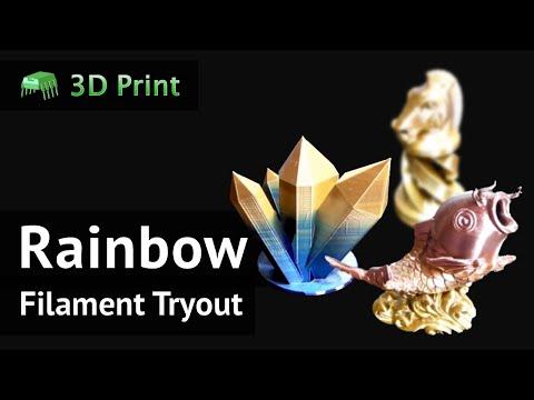 3d Print: Silk Rainbow Multicolor PLA Filament Tryout