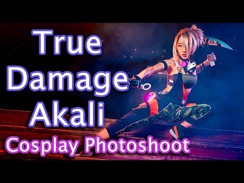 True Damage Akali Cosplay Photoshoot