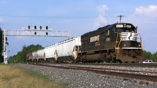 Far Enough...BANG! BIG SD60 Power Switches Feed Mill while Mainline Traffic Passes
