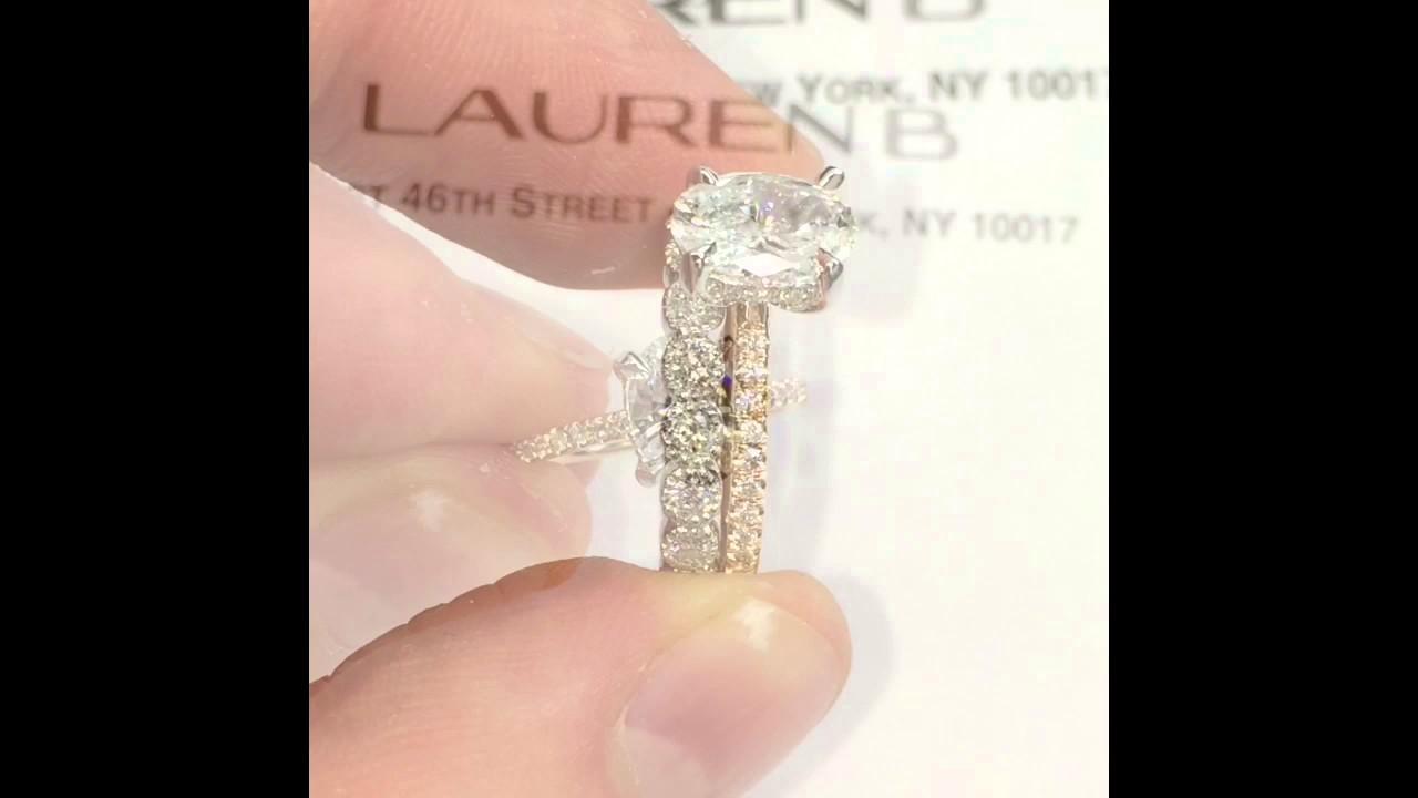 Oval Diamond Engagement Ring Matching Larger Wedding Band - YouTube