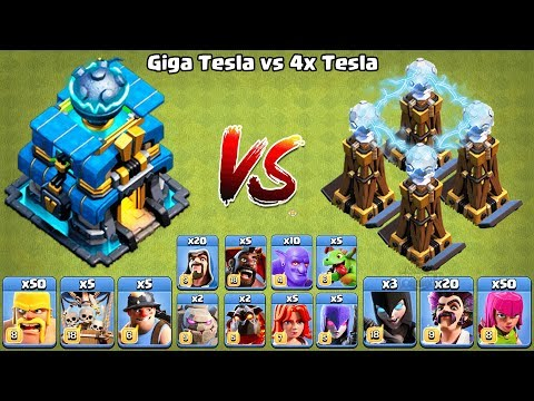 Giga Tesla Vs Hidden Tesla Clash Of Clans Ultimate Battle🔥🔥 COC Giga Tesla