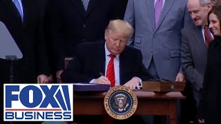 Trump participates in signing ceremony for USMCA trade agreement