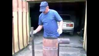 печь длительного горения (бубафоня)(Несмотря на небольшие размеры, печь горит от 8 до 10 часов. Закладываешь в печь дрова, опилки, щепки и любой..., 2012-05-30T17:12:28.000Z)