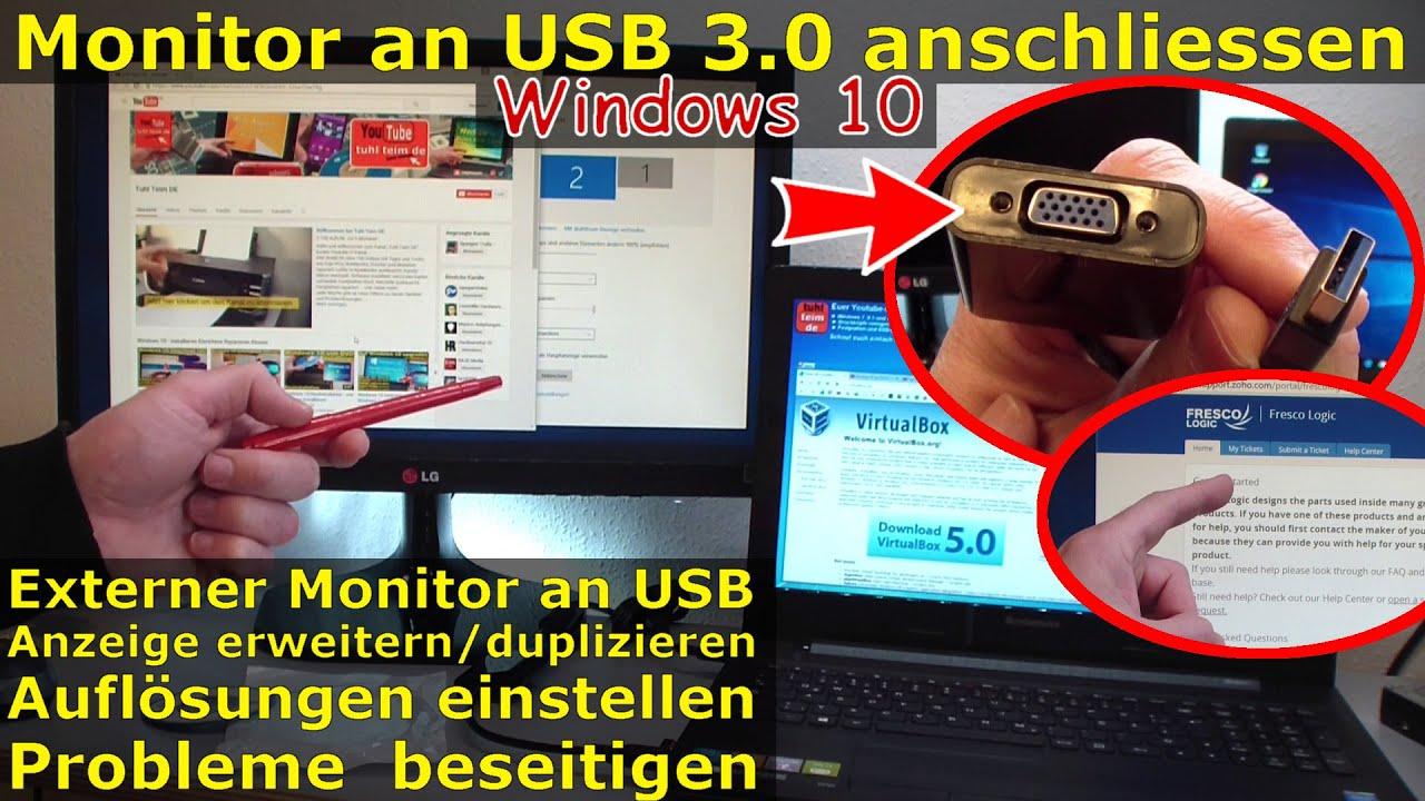 Monitor per USB anschließen | an USB3 0 mit Adapter Windows 10