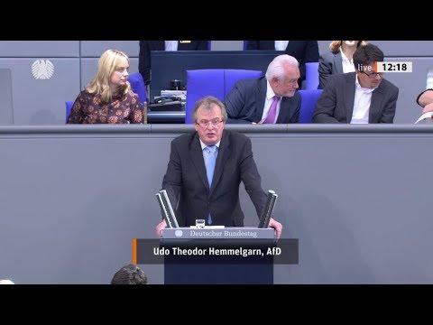 """Bundestag. """"Stopp von Zuzug von sogenannten Flüchtlingen."""" Udo Theodor Hemmelgarn AfD 18.10.2019"""