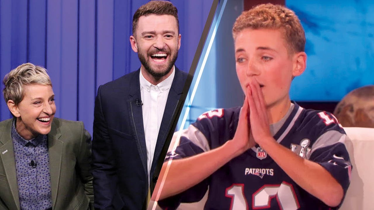 23b9cbe80 Super Bowl  Selfie Kid  Receives a SURPRISE from Justin Timberlake on the  Ellen Show