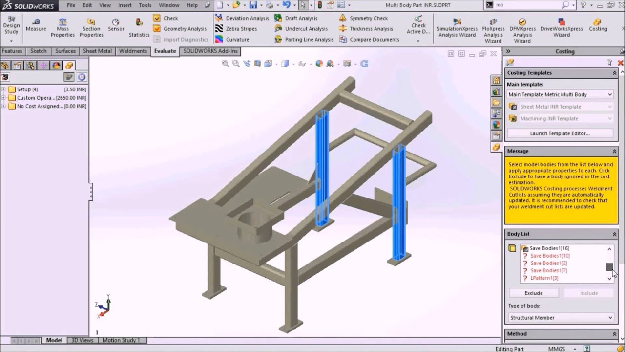 Costing Template for Multi-Body Main Template using SOLIDWORKS - YouTube