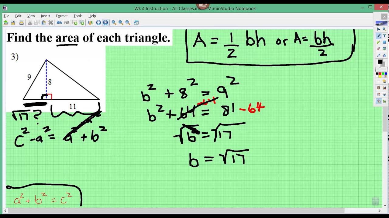 Mbm Pythagorean Theorem Finding Area Of A Triangle