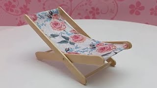 DIY Beach Chair from Popsicle Sticks - Super Easy Project - How to make Mini Furniture Toys for kids