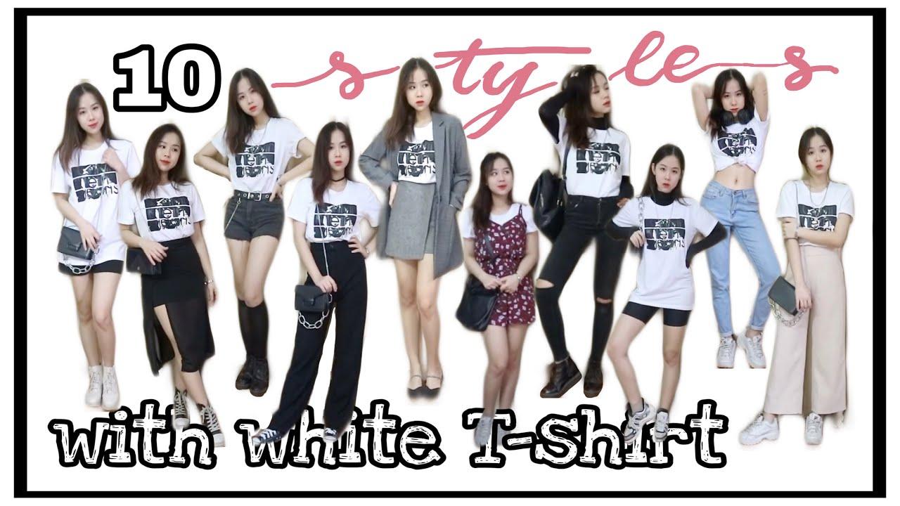 PHỐI ĐỒ VỚI ÁO PHÔNG TRẮNG??? 🥼 | 10 outfits with just a white T-shirt
