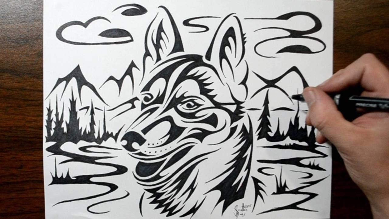 e15262f28 How to Draw a Husky Dog - Tribal Tattoo Design Style - YouTube