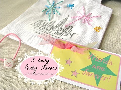 3 Easy Party Favors - Canvas Bag, Napkin Ring That Is Also A Hair Tie, And Magnet