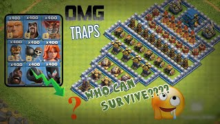 WHO CAN SURVIVE?? ON THIS TRAPS || ALL STRONGEST TROOPS VS DIFFICULT TRAPS || COC PRIVATE SERVER ||