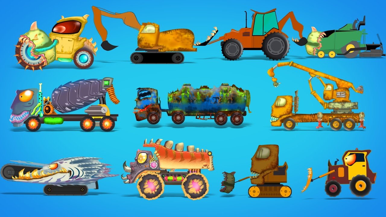 scary construction vehicles | Halloween cars for children