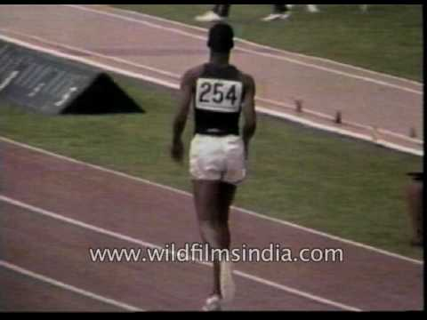 Bob Beamon sets Long jump World Record in 1968 Mexico Olympics 29 ft 2.50  inches