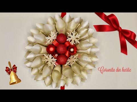 DIY Christmas Wreath old book pages/ Coronita din conuri de hartie  /Decoratiuni pentru Craciun