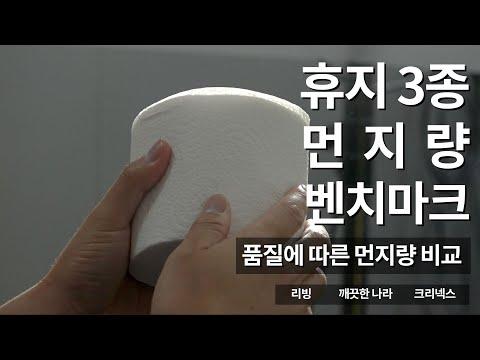 3겹 두루마리 화장지, 먼지량 비교