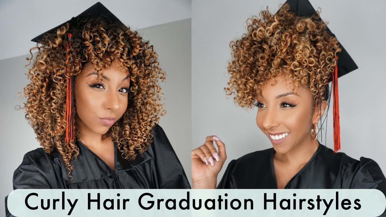 curly graduation cap hairstyles