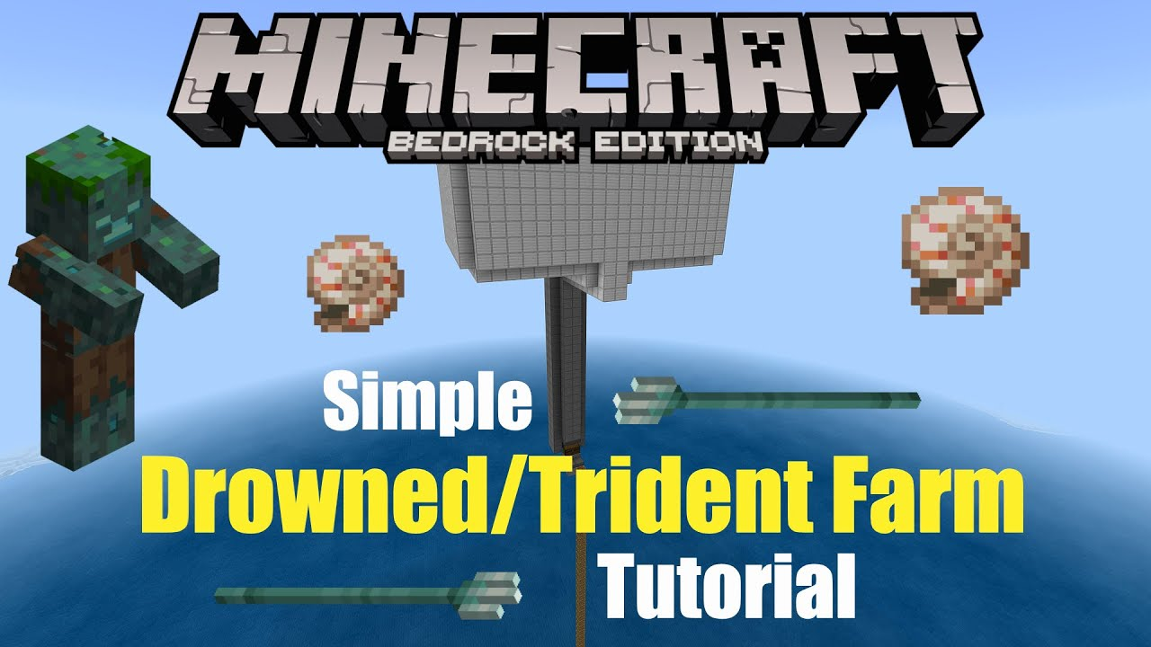 Simple & Easy DROWNED/TRIDENT FARM! |Minecraft Bedrock 1 ...