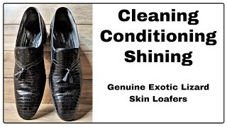 Clean - Condition - Shine / Genuine Exotic Lizard Skin Mauri Italian Loafers