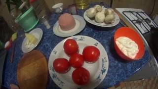 Картофельная запеканка с ветчиной и грибами.