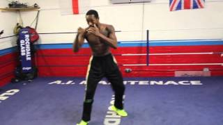 AMERICAN CONTENDER JOHN THOMPSON SHOWS HIS SHAPE SHADOW BOXING FOR THE MEDIA / WORLD WAR III