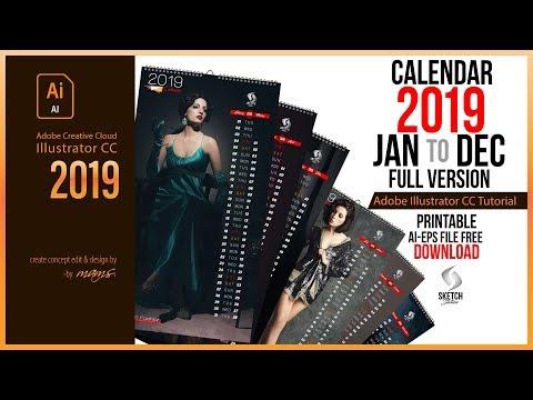 Calendar 2019 Full Version Design Tutorial in Illustrator CC