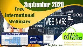 Free International Webinars for Teachers with E-certificates (September 9,10,14,15, 2020)