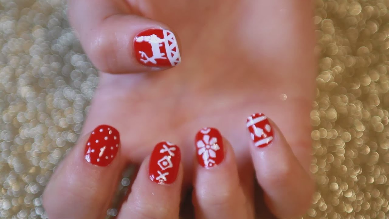 How To Do Fair Isle Christmas Pattern Nails - YouTube