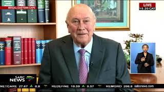 F. W. de Klerk speaks at Nelson Mandela centenary celebrations
