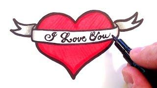 heart ribbon drawings draw hearts drawing ribbons getdrawings does