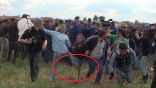 Hungarian journalist Petra Laszlo fired after kicking kid, tripping up fleeing refugees