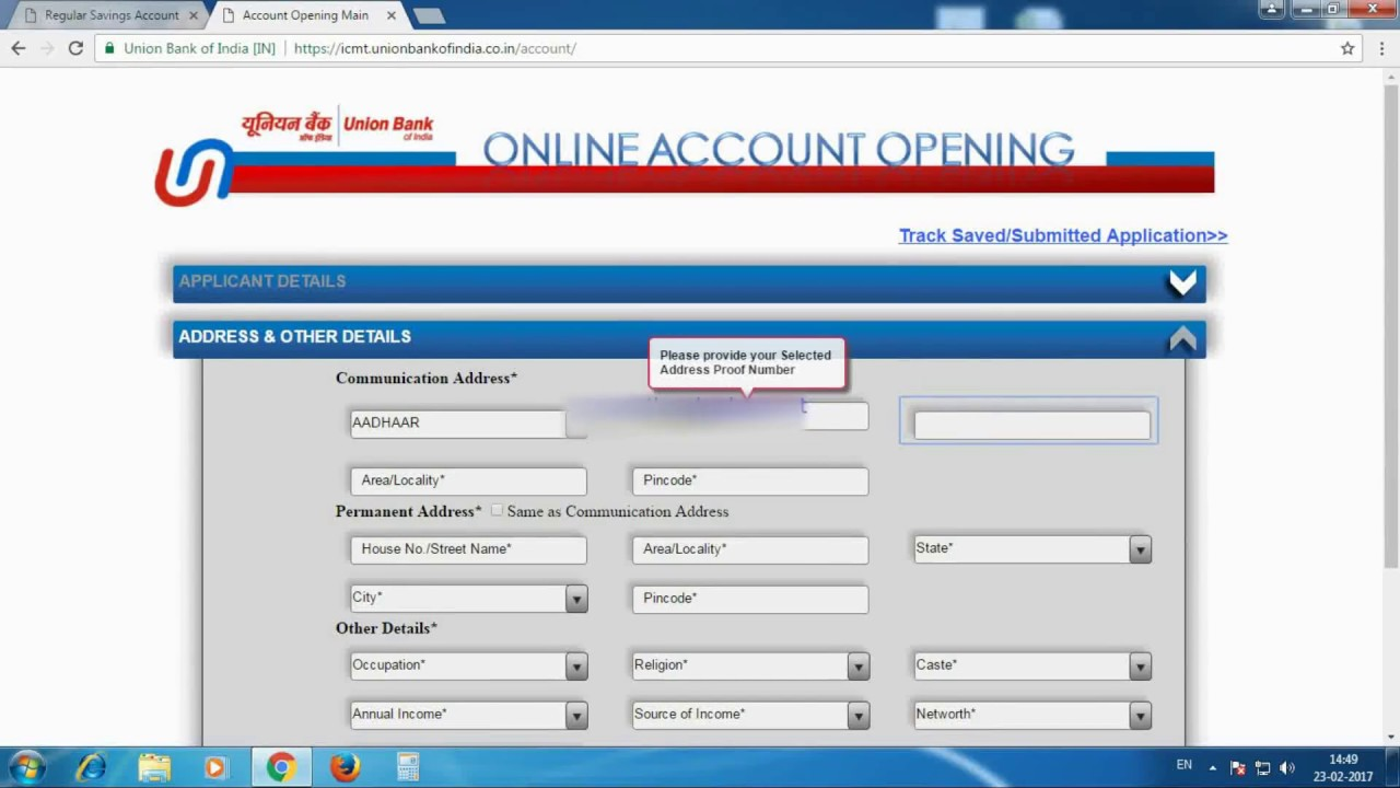 Open online bank account in Union Bank India