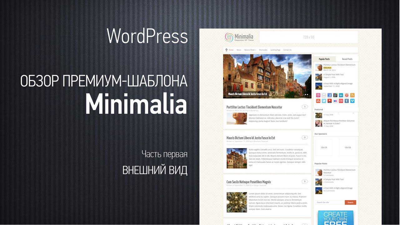 Премиум-шаблон для блогов Minimalia.Обзор. Часть первая. Внешний вид