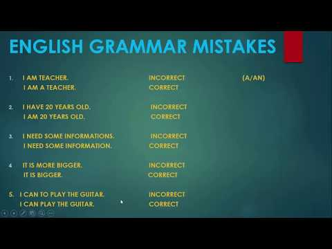 English Grammar mistakes/ Errores al hablar inglés