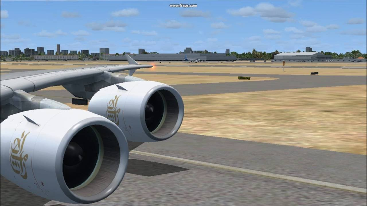 FSX Emirates Airbus A380-861 takeoff from Dubai International Airport with  TSS GP7200 sound