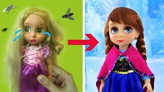 Anna Frozen Doll Makeup Makeover Transformations | Anna plays with Slime for children