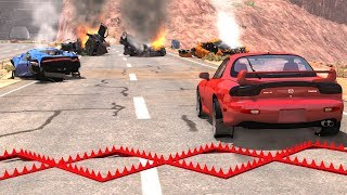 Spike Strip Multi-Vehicle Pileup Crashes #6 - BeamNG Drive Police Spike Strip Testing