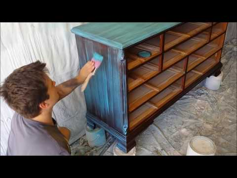 Shabby Chic Dry Brushing with Turquoise Paint - Start to Finish