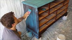 How-to Paint Furniture Makeover Tutorial: Turquoise Dry Brush Distressed Paint Blending Technique