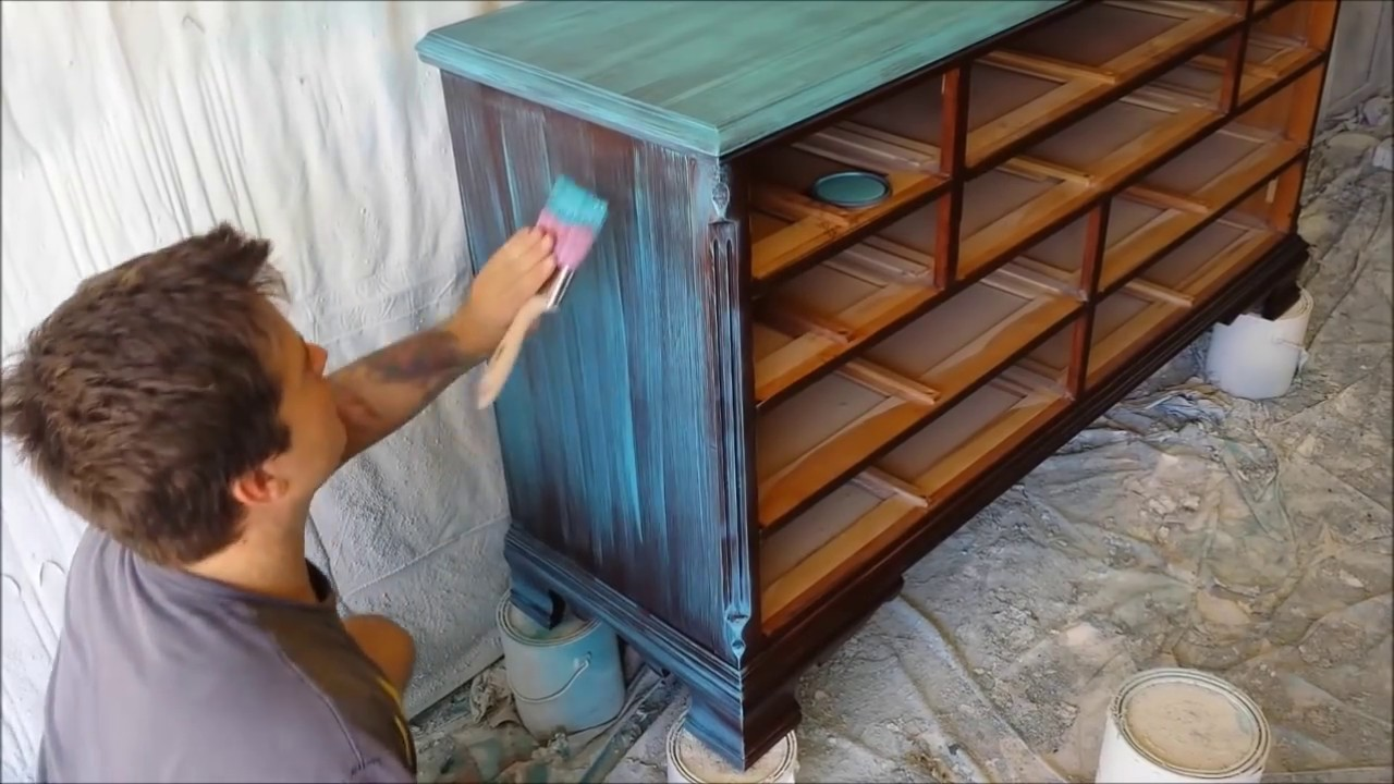 Howto Paint Furniture Makeover Tutorial Turquoise Dry