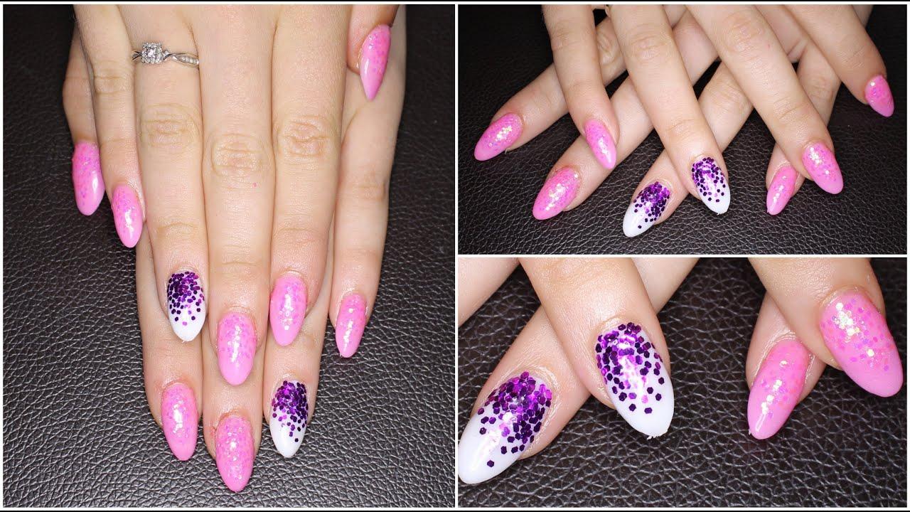 Glow In The Dark Pink Stiletto Hexagon Glitter | Acrylic Nail ...
