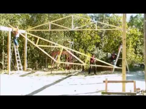 Raising And Setting Wood Trusses Wood Truss Building