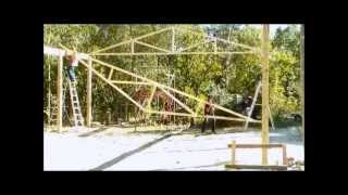 6 Of 13 Raising And Setting Wood Trusses.- Wood Truss Building Construction.