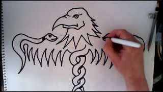 How to draw an eagles head,wings,snake design-100% ORIGINAL