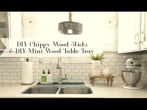 DIY Chippy Wood Sticks and Mini Wood Tray Table