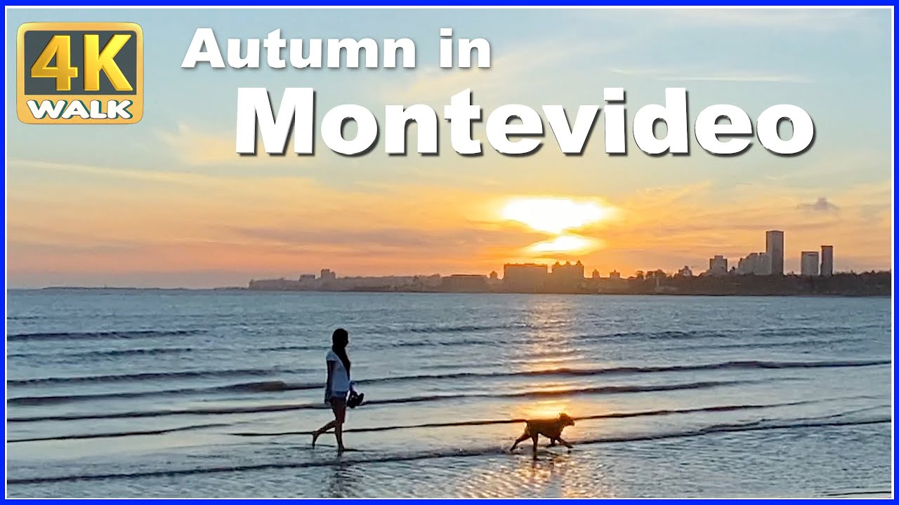 【4K】WALK Beach at sunset MONTEVIDEO Uruguay 4k video Travel