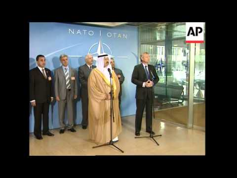 Iraqi interim president meets NATO chief